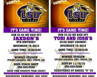 Printable LSU Tigers College Football Birthday Party Invitation NCAA Ticket Invitation Baby Shower Invitations