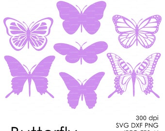 Butterflys 300 dpi (svg, dxf, jpg, ai, eps, png) vector Clip Art Cutting file, cut Silhouette Cameo template EasyCutPrintPD