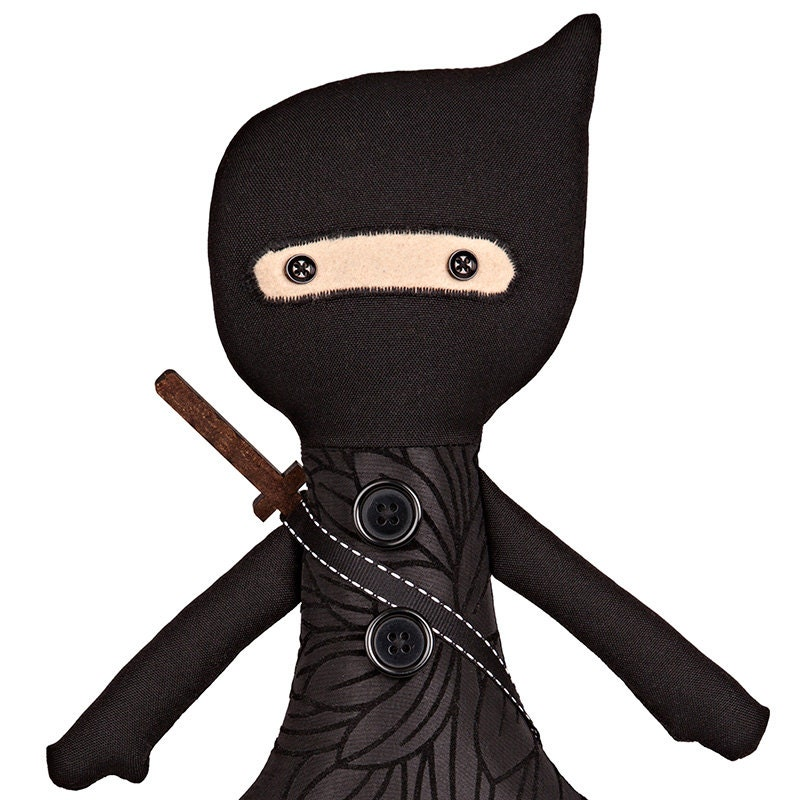 Ninja Toys For Girls : Ninja doll black handmade stuffed toy girl cloth