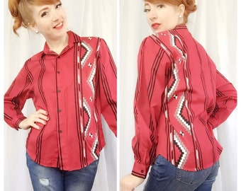 Roper Southwest Inspired 80's Shirt // Red // Southwestern Print // Made in USA // 100% Cotton