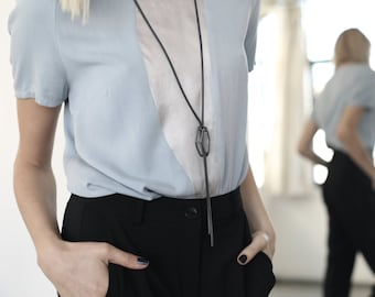 Long Geometric Necklace, Lariat Necklace, Urban Statement Necklace, Black Geometrical Necklace, 3D Lariat.