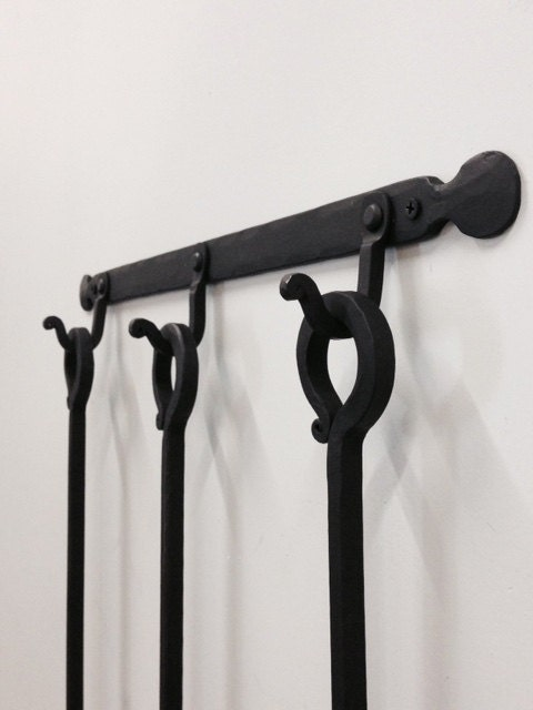 Fireplace Tool Set W Wall Mount Forged Collection
