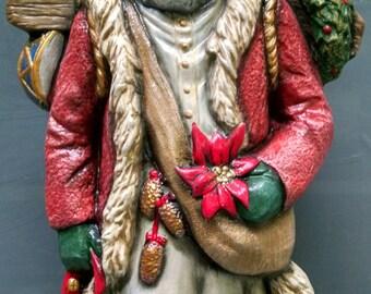 SALE!!!Finnish Old World Santa -- Heirloom-quality handpainted ceramic Santa -- Christmas mantel decor