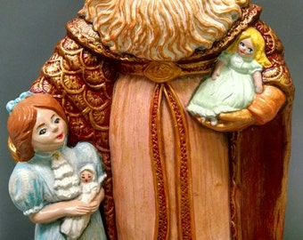 SALE!!!Small Renaissance Santa with Child -- Heirloom-quality handpainted ceramic Santa -- Christmas mantel decor
