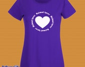 Ladies Fit 'Animal Lover' T-Shirt, Love Heart design, Great Colours, Handmade UK