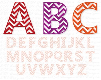 Chevron Alphabet Monogram font, SVG DXF EPS. Commercial use cutting file for use with Silhouette Cameo and Cricut Explore machines.