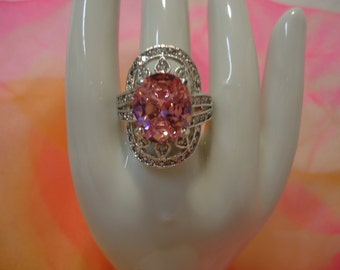 Beautiful Pink Stone and Rhinestone Sterling Silver Ring Size 6