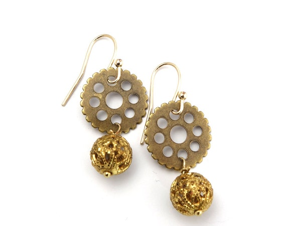 Steampunk Earrings - Steampunk Jewelry, Brass Gear Earrings with Filigree Bead, Steampunk Gear Earrings