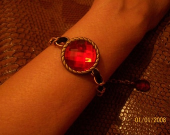 Bracelet for women, black with red stone