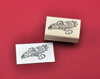 Firefly Serenity Rubber Stamp, Hand carved Serenity Spaceship stamp