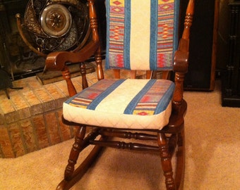 Rocking chair cushions handmade in quilted pattern in your choice of colors and prints.