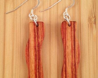 Brazilian Tulipwood Handcrafted Wood Earrings