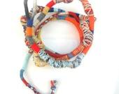 Primary Fiber Wraps / Textile Necklace / Wearable Art / Colorful Multiple strand Bracelet  / Colorful Bohemian Necklace / Urban fiber wrap