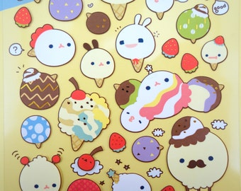 Korean ice cream paper stickers - kawaii strawberries and cherries - emoticon faces - hipster - bunny ice cream stickers