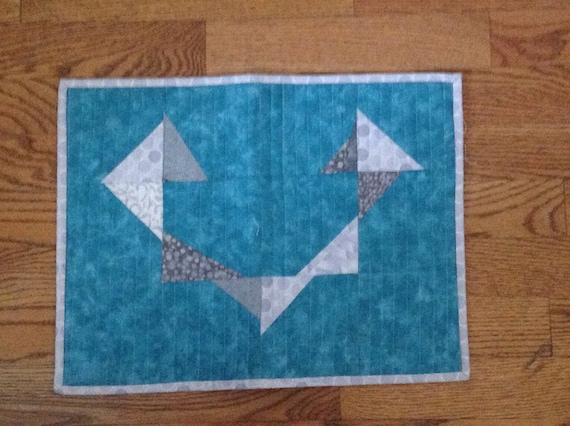 modern heart table mat/runner teal/grey