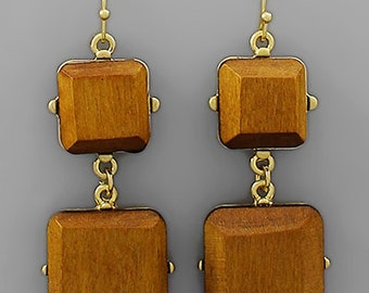 CLEARANCE - Wood Cube Earrings
