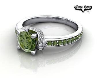 14 kt. White Gold  Round .80 Carat Brilliant Cut Forrest Green Diamond,  Exquisite Engagement Ring. #6747