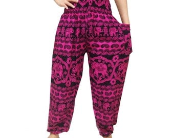 Pink Elephant Strips Comfy Yoga Pants Wide Leg Pants (YG01-9)