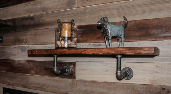 items similar to industrial pipe and wood wall shelf industrial shelf pipe shelf industrial. Black Bedroom Furniture Sets. Home Design Ideas