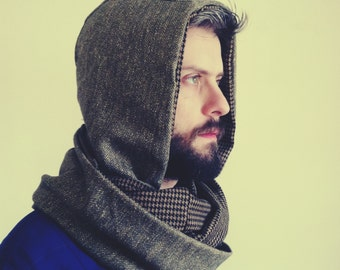 Olive and Brown Shades Hooded Scarf
