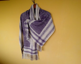Keffiyeh VIOLA CAMPING in wool and silk. Natural dyeing. Woven by hand.