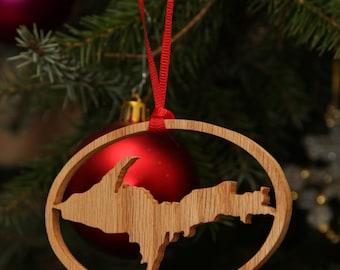 Michigan Upper Peninsula Christmas Ornament