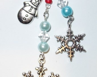 Let It Snow! Two Snowflake And A Snowman Key Chain Or Cell Phone Charm