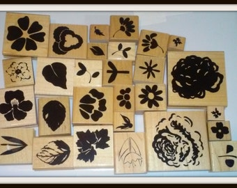 Lot of 28 Wooden Rubber Stamps for Scrapbooking or Paper Crafting - All Floral Designs -  Mostly Close to my Heart brand
