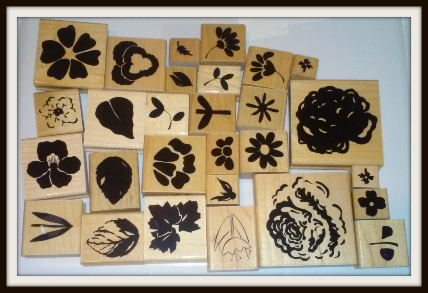 Rubber stamps for crafting - Lot Of 28 Wooden Rubber Stamps For Scrapbooking Or Paper Crafting All Floral Designs Mostly Close To My Heart Brand