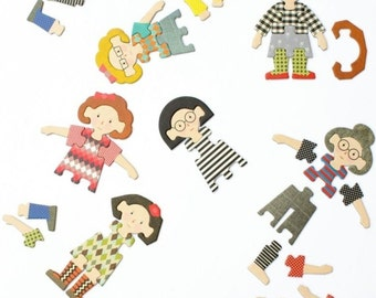 Mix and Match Puzzle, Dress Up Doll, Gifts for Girls, Retro Toys, Toddler Girl Toys, Kids Gift, Cardboard Doll, Kids Puzzles