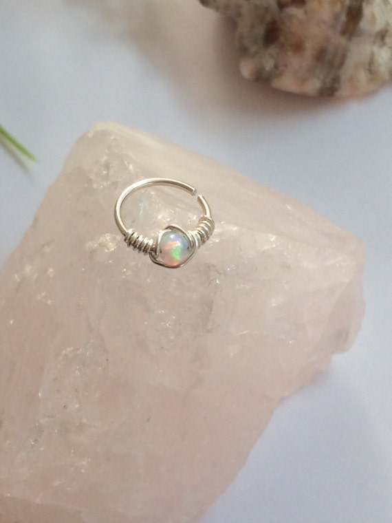 opal cartilage earrings tiny hoop earring opal earring small cartilage ring tiny 1300