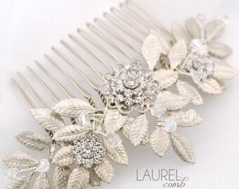 Leafy wedding hair comb - silver leaf bridal comb - Swarovski crystal comb - Grecian comb - leaf headpiece - Laurel comb