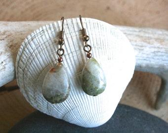 Lake Superior earrings, jasper earrings, green earrings, white earrings, drop earrings, rustic earrings, teardrop earrings, stone earrings