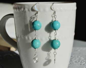 "3"" Long Natural Turquoise Stone Earrings"