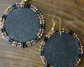 Denim Rose and gold mixed media earrings