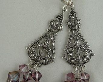 Chandelier Earrings, Crystal Drop Earrings, Victorian Earrings, Statement Drop Earrings, Lilac Drop Earrings, Filigree Drop Earrings