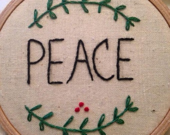 Peace hand-embroidered vine & berries Christmas ornament