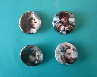 The Hobbit - Thorin Bilbo Fili Kili BotFA Pinback Buttons