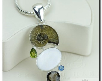 Ammonite Fossil Mother of Pearl Smoky Topaz 925 SOLID Sterling Silver Pendant + 4mm Snake Chain & FREE Worldwide Shipping