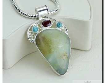 Apple Green Chrysoprase Ruby Turquoise 925 SOLID Sterling Silver Pendant + 4mm Snake Chain & Worldwide Shipping