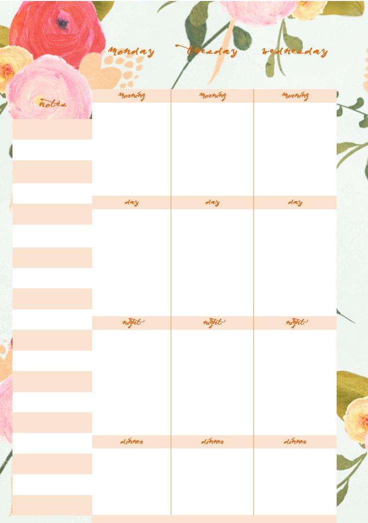 Floral Weekly Planner Binder Diary Calendar Printable PDF