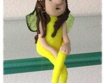 "Collectors Clay OOAK Mini Miniature Yellow 2.5"" Shelfy Fairy Guardian Angel Doll"