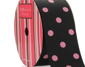 "1.5"" Black/Pink Dot Grosgrain Ribbon - 5yds"