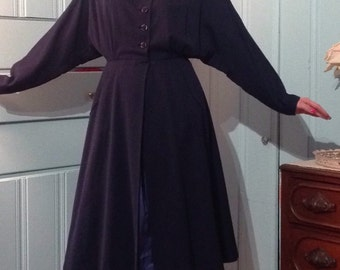 1940's 40s / Vintage DOLMAN DRESS COAT gorgeous navy blue high fashion vintage mid-weather coat with dolman sleeves