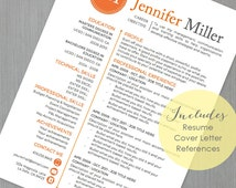 Resume Template and Cover Letter Template for Word | DIY Printable 4 Pack | The Jennifer ORG | Instant Download