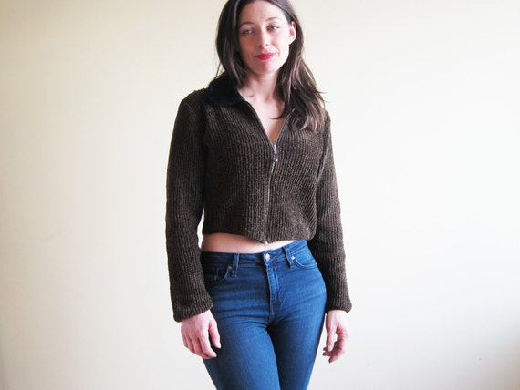 1990s Brown Zip Up Cardigan Chenille Cropped Sweater with