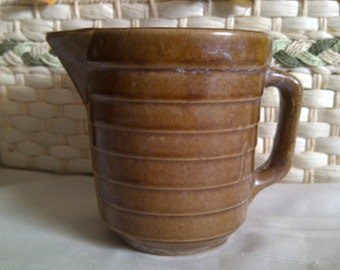 Vintage Tall Ribbed Stoneware Pitcher. Brown Ribbed Stoneware Pitcher. Vintage Rustic Brown Ribbed Pitcher