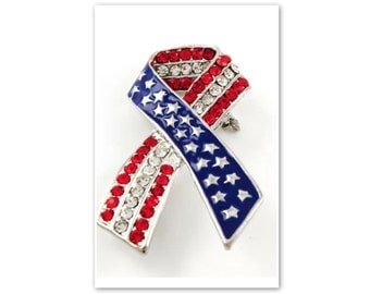 "American Awareness Rhinestone Ribbon Brooch US ""Red White and Blue"" Patriotic Flag Pin"