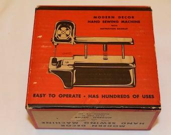 Vintage 1950's Modern Decor Hand Sewing Machine w/Original Box and Case