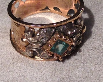 Silver and gold with emerald ring